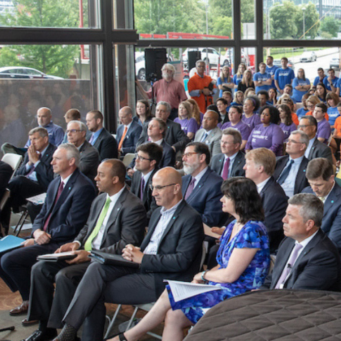 Attendees gather for the Father's Day Pledge Event