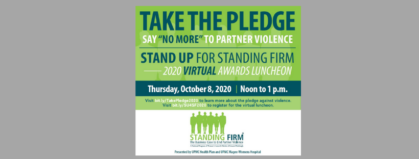 Take the Pledge banner for Standing Firm luncheon
